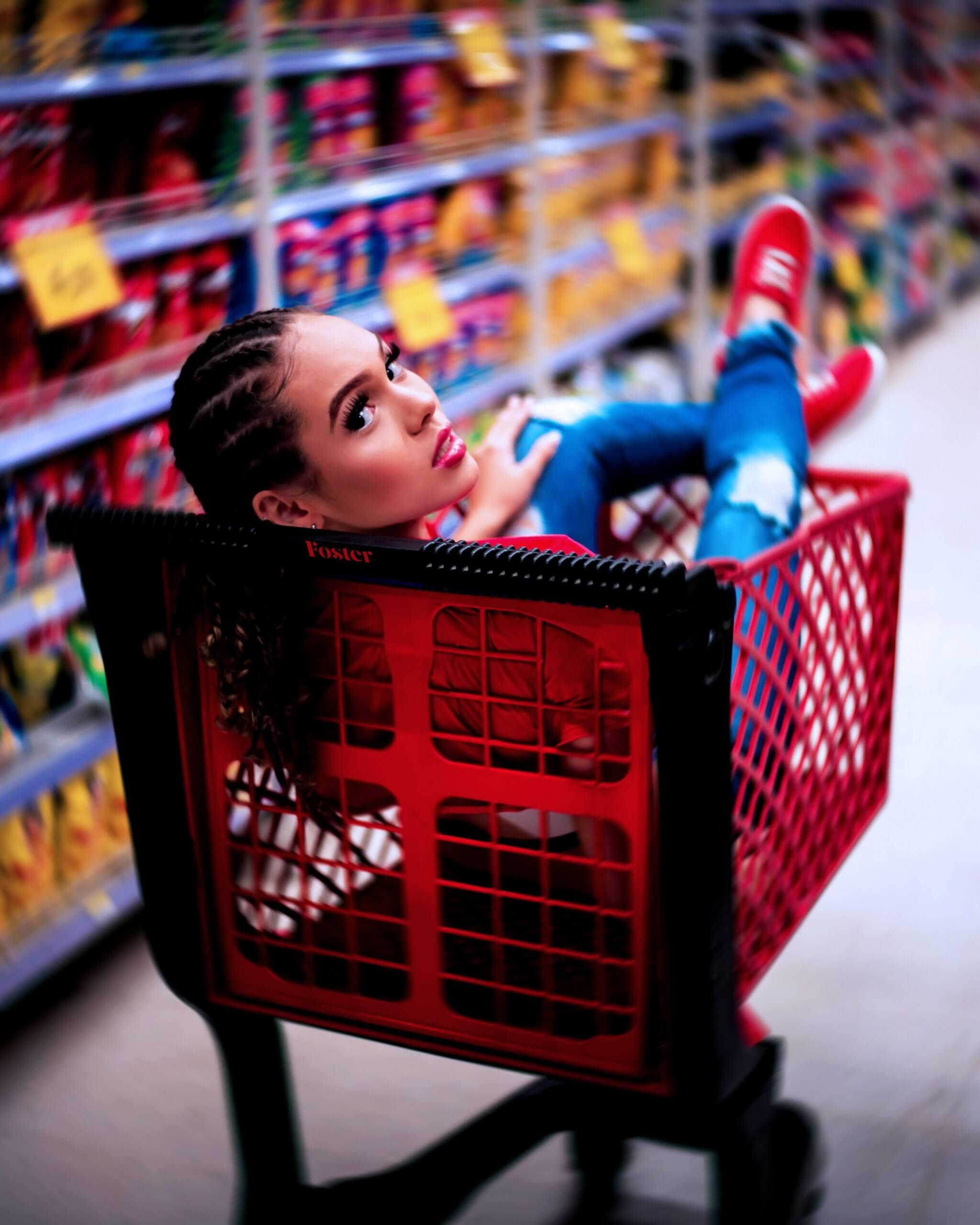 Female in Shopping Trolley
